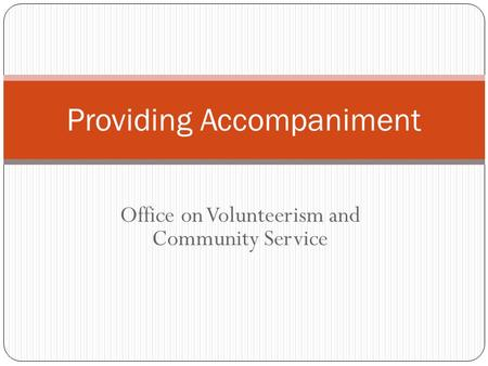 Office on Volunteerism and Community Service Providing Accompaniment.
