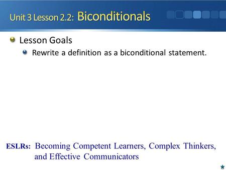 Unit 3 Lesson 2.2: Biconditionals