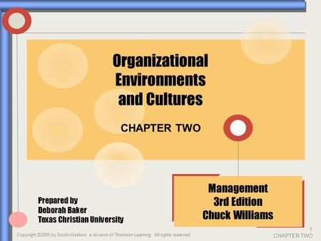 Copyright ©2005 by South-Western, a division of Thomson Learning. All rights reserved 1 CHAPTER TWO CHAPTER TWO Management 3rd Edition Chuck Williams Organizational.