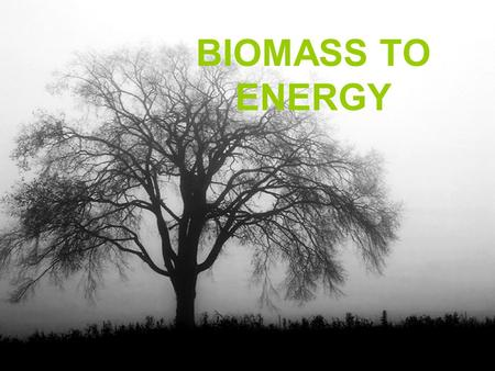 BIOMASS TO ENERGY. What is meant by Biomass Materials produced by metabolic activities of biological systems (plants and animals) and/or products of their.