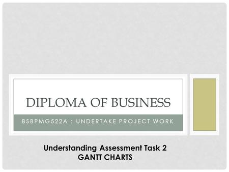 BSBPMG522A : UNDERTAKE PROJECT WORK DIPLOMA OF BUSINESS Understanding Assessment Task 2 GANTT CHARTS.