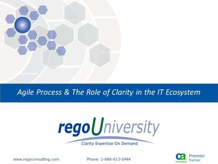 Www.regoconsulting.comPhone: 1-888-813-0444 Agile Process & The Role of Clarity in the IT Ecosystem.