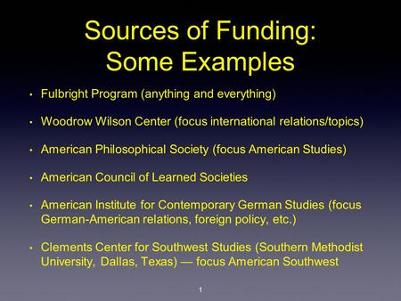 Sources of Funding: Some Examples Fulbright Program (anything and everything) Woodrow Wilson Center (focus international relations/topics) American Philosophical.