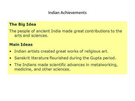 Indian Achievements The Big Idea