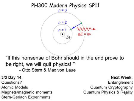 1 PH300 Modern Physics SP11 3/3 Day 14: Questions? Atomic Models Magnets/magnetic moments Stern-Gerlach Experiments Next Week: Entanglement Quantum Cryptography.