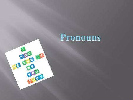 A pronoun is a word that takes the place of one or more nouns. Pro- means for (standing FOR a noun)  yg9MKQ1OYCg.