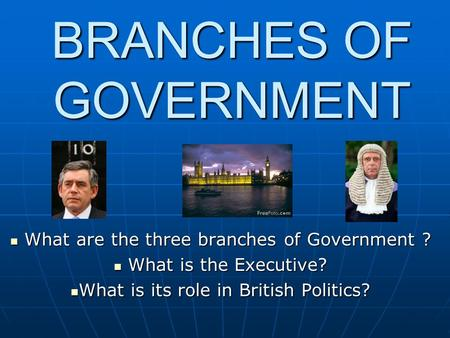 BRANCHES OF GOVERNMENT What are the three branches of Government ? What are the three branches of Government ? What is the Executive? What is the Executive?