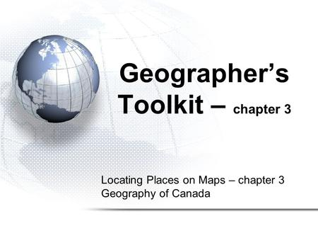 Geographer's Toolkit – chapter 3