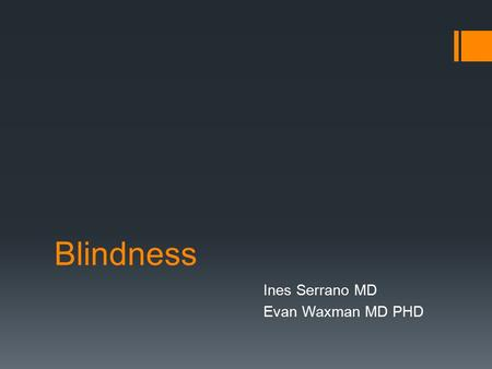 Blindness Ines Serrano MD Evan Waxman MD PHD. There is no better way to thank God for your sight than by giving a helping hand to someone in the dark.""