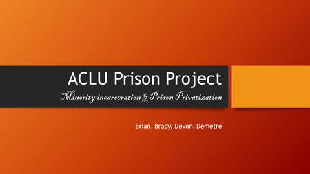 ACLU Prison Project Brian, Brady, Devon, Demetre Minority incarceration & Prison Privatization.
