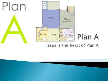 Jesus is the heart of Plan A 1.  When we are faced with a decision or are trying to solve a problem – we develop a plan.  We call this – Plan A.  Plan.