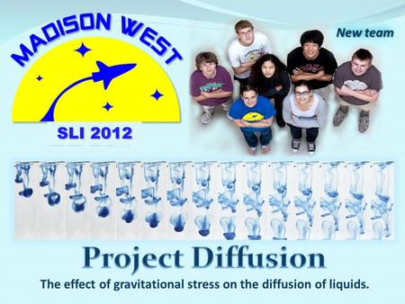 The effect of gravitational stress on the diffusion of liquids. New team SLI 2012.