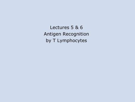 Lectures 5 & 6 Antigen Recognition by T Lymphocytes.
