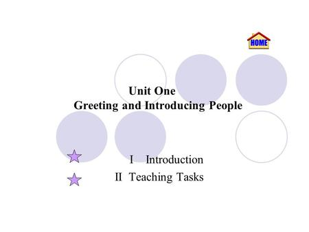Unit One Greeting and Introducing People I Introduction II Teaching Tasks.