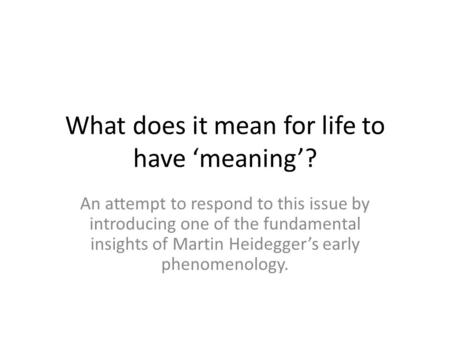 What does it mean for life to have 'meaning'? An attempt to respond to this issue by introducing one of the fundamental insights of Martin Heidegger's.