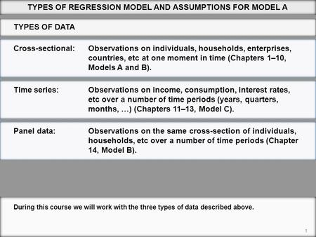 Cross-sectional:Observations on individuals, households, enterprises, countries, etc at one moment in time (Chapters 1–10, Models A and B). 1 During this.