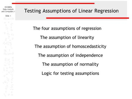 Testing Assumptions of Linear Regression