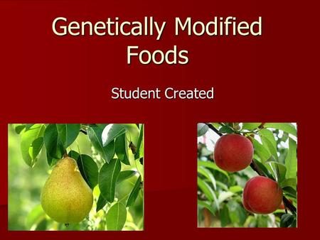 Genetically Modified Foods Student Created. What are Genetically Modified Foods? Genetically modified foods are plants that have been modified in a laboratory.