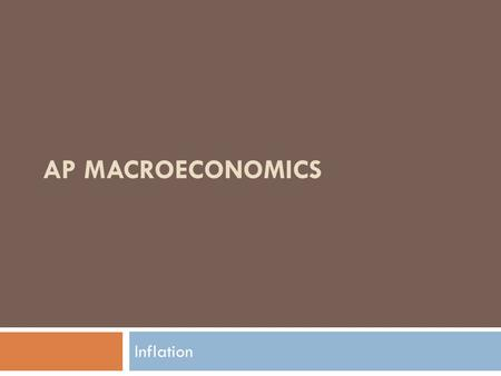 AP Macroeconomics Inflation.