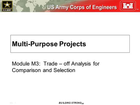 M4 - 1 BU ILDING STRONG SM Multi-Purpose Projects Module M3: Trade – off Analysis for Comparison and Selection.
