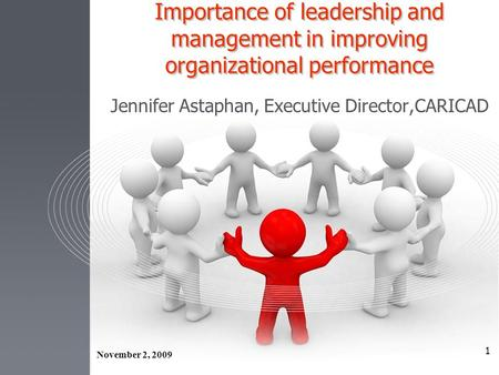 1 Importance of leadership and management in improving organizational performance Jennifer Astaphan, Executive Director,CARICAD November 2, 2009.
