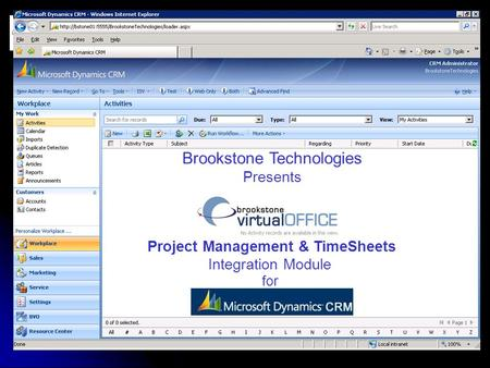 Brookstone Technologies Presents Project Management & TimeSheets Integration Module for.