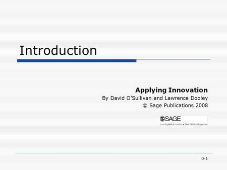 Introduction Applying Innovation