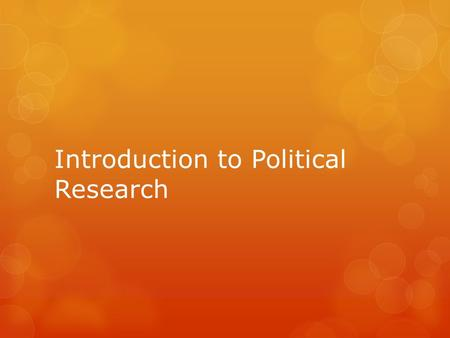 Introduction to Political Research