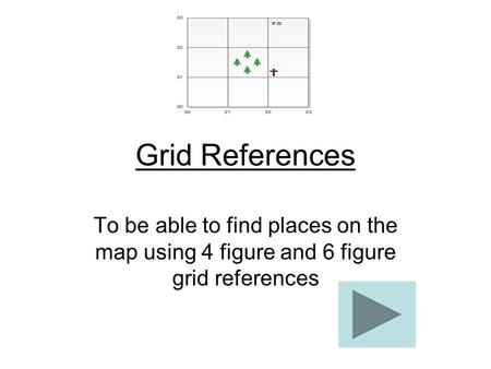 Grid References To be able to find places on the map using 4 figure and 6 figure grid references.