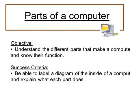 Parts of a computer Objective: