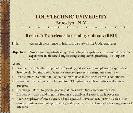 POLYTECHNIC UNIVERSITY Brooklyn, N.Y. Research Experience for Undergraduates (REU) Title: Research Experience in Information Systems for Undergraduates.