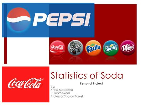 Statistics of Soda Personal Project By: Katie McKoane BUS299-excel Professor Sharon Forest.