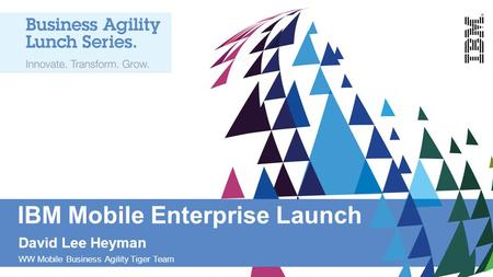 IBM Mobile Enterprise Launch David Lee Heyman WW Mobile Business Agility Tiger Team.