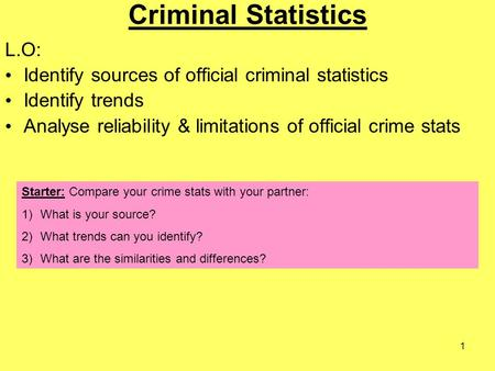 1 Criminal Statistics L.O: Identify sources of official criminal statistics Identify trends Analyse reliability & limitations of official crime stats.