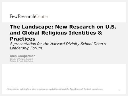 The Landscape: New Research on U. S