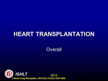 HEART TRANSPLANTATION Overall ISHLT 2012 J Heart Lung Transplant. 2012 Oct; 31(10): 1045-1095.