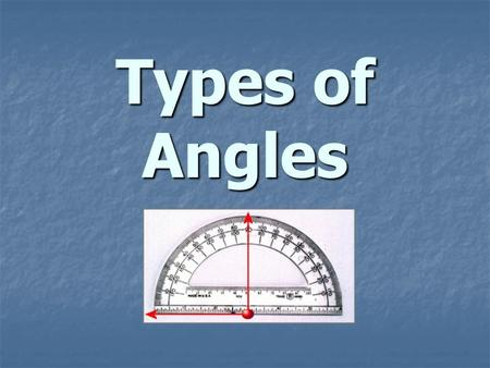 Types of Angles. Acute Angle Any angle that measures less than 90 o.