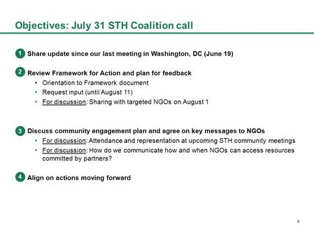 0 Objectives: July 31 STH Coalition call Share update since our last meeting in Washington, DC (June 19) Review Framework for Action and plan for feedback.