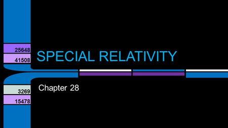 41508 25648 3269 15478 SPECIAL RELATIVITY Chapter 28.