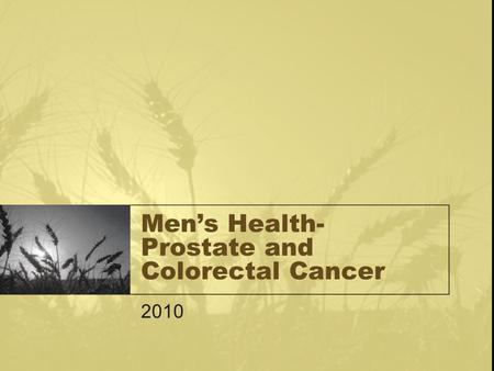 Men's Health- Prostate and Colorectal Cancer 2010.