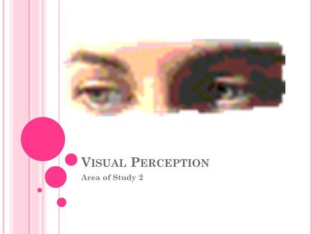 V ISUAL P ERCEPTION Area of Study 2. Visual SensationVisual Perception -Physiological - Visual sensation is the same for everyone -It is our physiological.