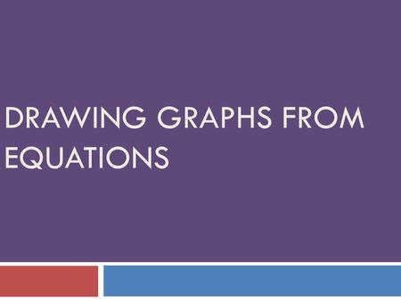 DRAWING GRAPHS FROM EQUATIONS. Objectives  Learn how to calculate coordinates specific to an equation  Learn how to draw a graph of any equation.