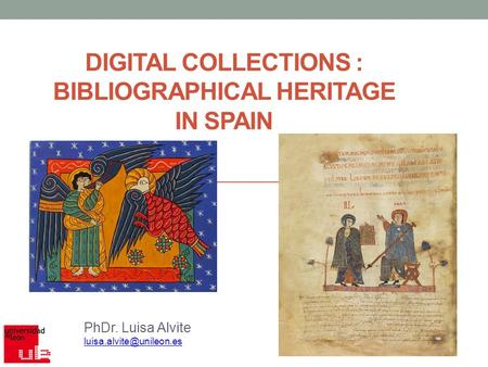 DIGITAL COLLECTIONS : BIBLIOGRAPHICAL HERITAGE IN SPAIN PhDr. Luisa Alvite
