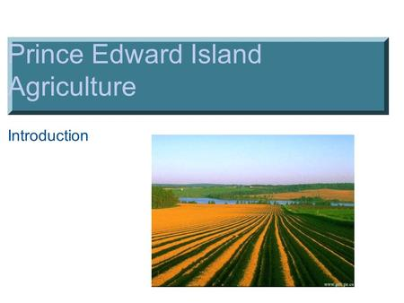 Prince Edward Island Agriculture Introduction. PEI General Agriculture Facts ▪# 1 industry - followed by tourism ▪620,000 acres (approx.) out of possible.