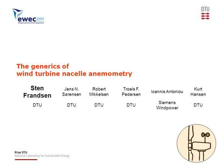 The generics of wind turbine nacelle anemometry