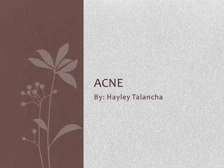 Acne By: Hayley Talancha.