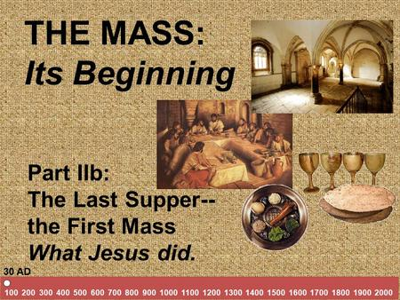 THE MASS: Its Beginning Part IIb: The Last Supper-- the First Mass What Jesus did. 100 200 300 400 500 600 700 800 900 1000 1100 1200 1300 1400 1500 1600.