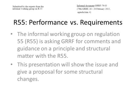 Submitted by the experts from the informal working group on R-55 Informal document GRRF-79-03 (79th GRRF, 16 – 20 February 2015, agenda item 4) R55: Performance.