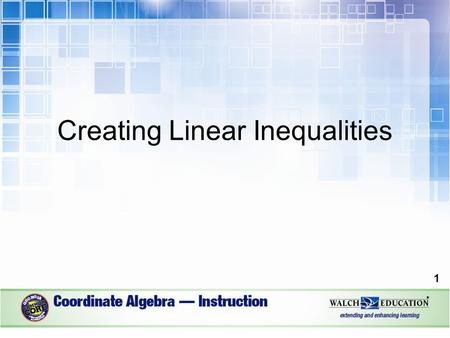Creating Linear Inequalities 1. Introduction Inequalities are similar to equations in that they are mathematical sentences. They are different in that.