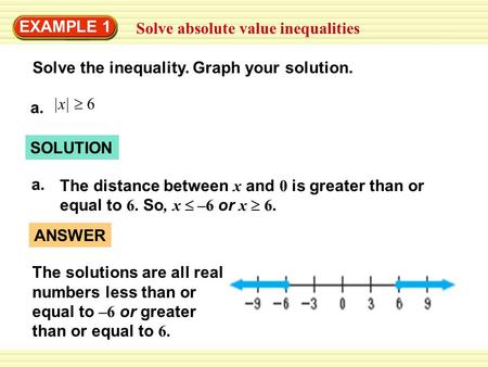 EXAMPLE 1 Solve absolute value inequalities